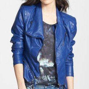 BLANKNYC Blue Faux Leather Jacket